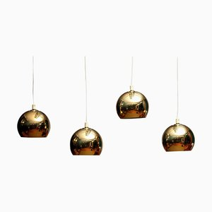 Swedish Brass Spherical or Globe Shape Pendants, 1970s, Set of 4