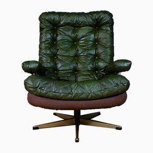 Mid-Century Danish Green Leather Swivel Lounge Armchair, 1970s