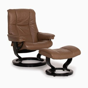 Brown Leather Mayfair Armchair & Stool from Stressless, Set of 2
