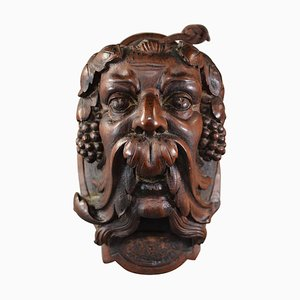 Antiker Handgeschnitzter Nussholz Bacchus Kopf