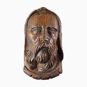 Carved Oak Hooded Bearded Man Head Corbel