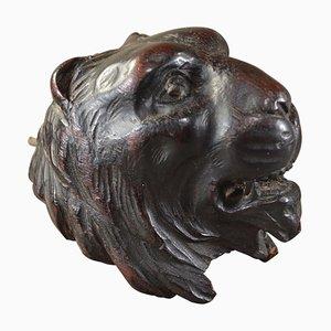 Ménsula inglesa antigua con cabeza de león fina