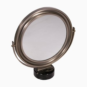 Specchio da tavolo in marmo e metallo cromato di Sergio Mazza, anni '60