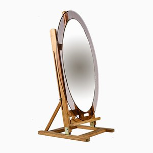 Miroir Oval Vintage avec Bordure en Plastique Rose, Italie, 1960s