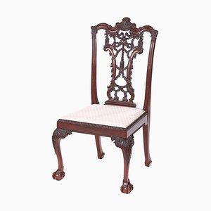Silla de escritorio victoriana antigua de caoba tallada, siglo XIX