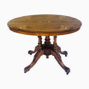 Antiker viktorianischer ovaler Tisch aus Nussholz mit Intarsien, 19. Jh