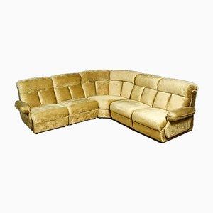 Vintage Velvet Modular Corner Sofa in Yellow
