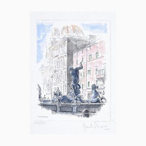 Giuseppe Malandrino - Navona Square - Fountain of the Triton - Rome - Etching by G. Malandrino - 1970s