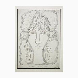 Gian Paolo Berto - Portrait de Bérénice - Crayon original sur papier - 1971