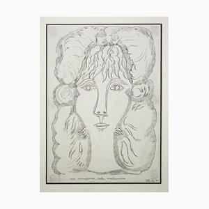 Gian Paolo Berto - Retrato de Berenice - Lápiz original sobre papel - 1971