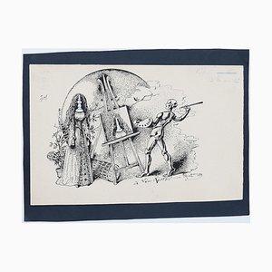 Fredric Front - Maler und Modell - Original China Tusche Zeichnung - 1898