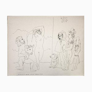 Gian Paolo Berto - Homenaje a Picasso - Pluma original sobre papel - 1974