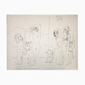 Gian Paolo Berto - Hommage à Picasso - Stylo original sur papier - 1974