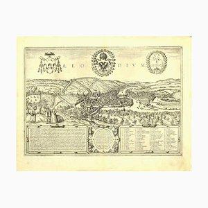 Incisione Franz Hogenberg - Vista di Liegi - fine XVI secolo