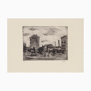 Alberto Salietti - Outskirts of Milan - Original Etching - 1940s