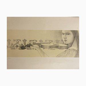 Paolo Giorgi - le violon - Lithographie originale - 1986