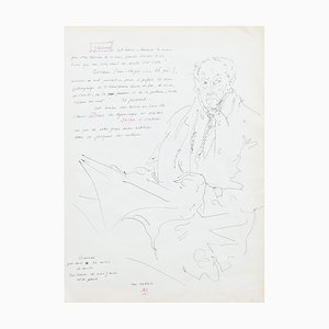 Desconocido - Retrato - Dibujo a pluma original - Mediados del siglo XX