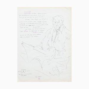 Inconnu - Portrait - Dessin original à la plume - Milieu du XXe siècle