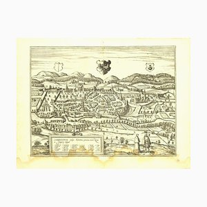 Franz Hogenberg - Veduta di Kempten ad Allgau - Acquaforte - Fine del 1500