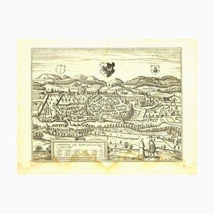 Franz Hogenberg - Vue de Kempten à Allgau - Gravure à l'Eau forte - Fin 1500