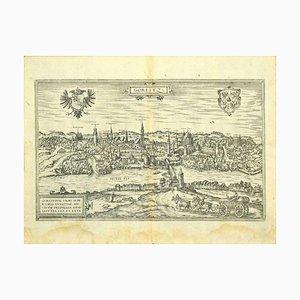 Franz Hogenberg - Vista de Gorlitz - Aguafuerte - Finales del siglo XVI