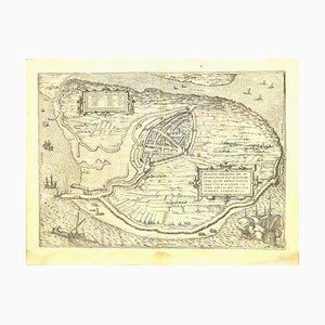 Franz Hogenberg - Brielle Den Briel - Aguafuerte - Finales del siglo XVI