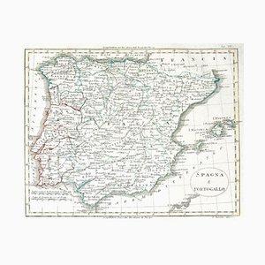 Inconnu - Carte de l'Espagne et du Portugal - Gravure originale - Fin du XIXe siècle