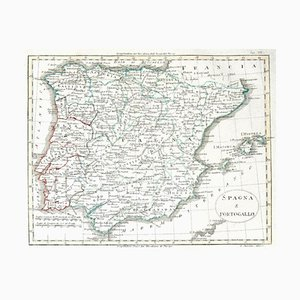 Unknown - Map of Spain and Portugal - Original Etching - Late 19th Century