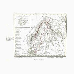 Giuseppe Malandrino - Mapa antiguo de Dinamarca y Suecia - Grabado original - Siglo XIX