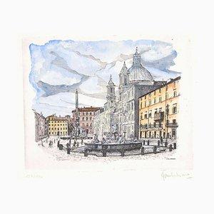 Giuseppe Malandrino - Navona Square - Rome - Original Etching - 1970s