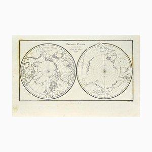 Desconocido - Mapa de las regiones polares - Grabado original - Finales del siglo XIX