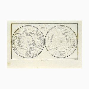 Unknown - Map of Polar Regions - Original Etching - Late 19th Century