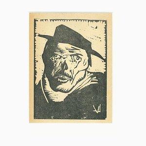 Lorenzo Viani - Betrunken - Original Holzschnitt - 1930