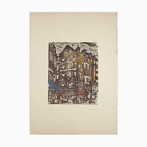 Carlo Mazzoni - Houses - Original Woodcut - 1977