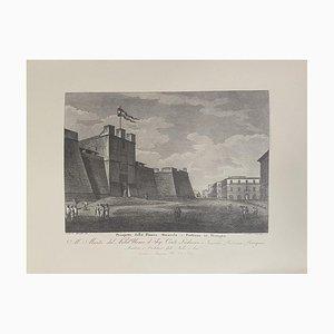 Acquaforte John Monotti - Dichiarazione di Piazza Riuarola e Fortezza per Perugia - anni '30