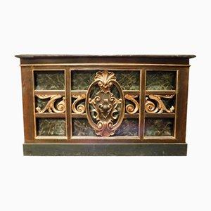 Mesa de encimera antigua de madera dorada lacada y mármol verde artificial, 1800