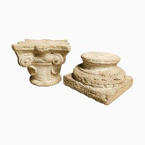 Socle Antique et Colonne Chapiteau en Grès Sculpté, Italie, 1700, Set de 2