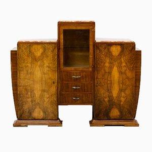 Art Deco Burl Walnut Cabinet, 1930er Jahre