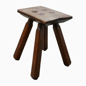 French Oak Mid-Century Low Stool or Side Table, 1950s