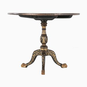 19th Century English Regency Chinese Black Lacquer and Gilt Table