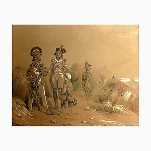 French School, Depicting Officers Hussars, 1850, Watercolor