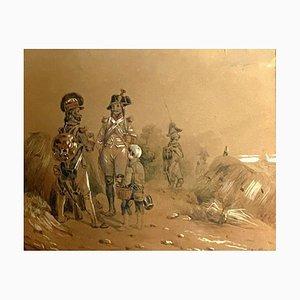 Scuola francese, raffiguranti ufficiali ussari, 1850, acquerello
