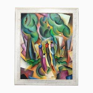 Pittura in stile Art Déco di una signora in una foresta di Patrick Leroy