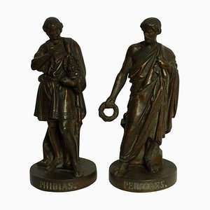 Sculture di Fidia e Pericle antiche in bronzo, set di 2