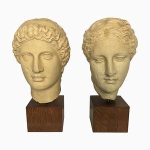 Esculturas de cabeza clásicas de yeso, años 60.Juego de 2