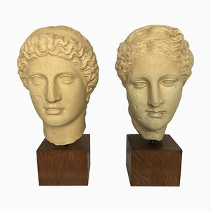 Plaster Classical Head Sculptures, 1960s, Set of 2