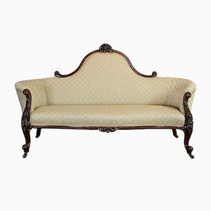 Antique English Walnut Spoon Back Sofa, 1840s