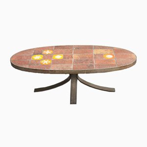 Enameled Lava Stone Coffee Table from Jean Jaffeux, 1960s