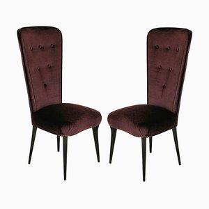 Chaises d'Appoint en Velours Mohair Violet, Italie, 1950s, Set de 2