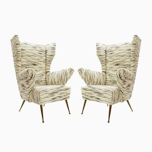 Italian High Back Armchairs With Ears, 1960s, Set of 2